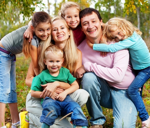 Happy large family with children