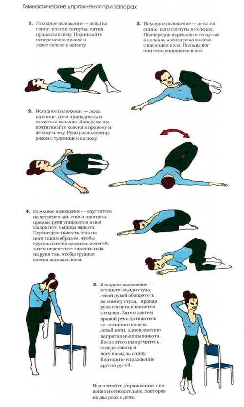 Упражнения при запоре в домашних условиях