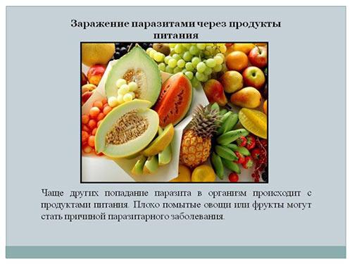 Продукты которые могут быть источником паразитов